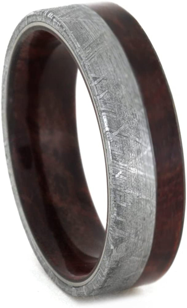 Gibeon Meteorite 7mm Comfort-Fit Ruby Redwood Band, Size 14.25