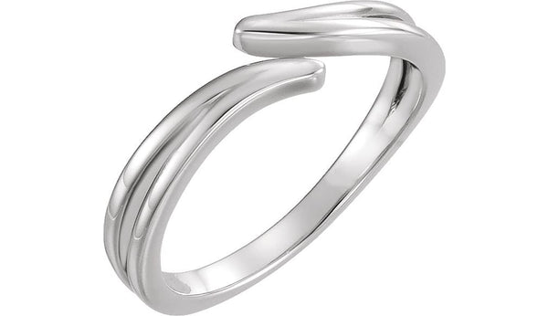 Satin-Finish Bypass Ring, Rhodium-Plated 14k White Gold, Size 7