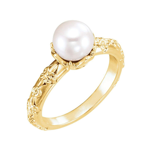 White Freshwater Cultured Pearl, Diamond Vintage Ring, 14k Yellow Gold (7-7.5 mm)(.02 Ctw, G-H Color, I1 Clarity)