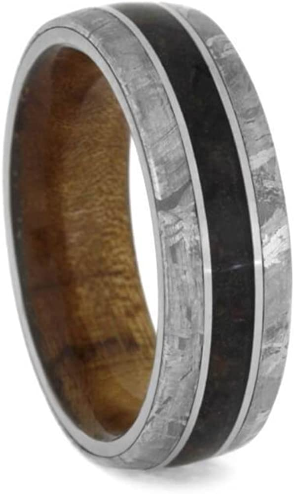 The Men's Jewelry Store (Unisex Jewelry) Crushed Dinosaur Bone, Meteorite, Matte Titanium 7.5mm Comfort-Fit Kauri Wood Sleeve Band, Size 14.5