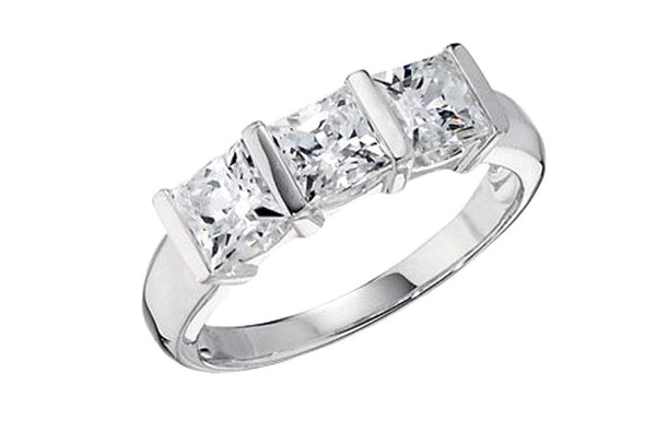 Past, Present, Future 3-Stone Princess CZ Sterling Silver Ring, Size 6