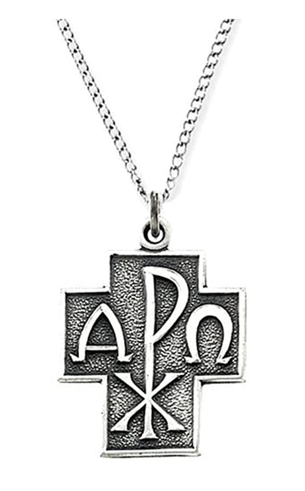 Sterling Silver Alpha Omega Chi-Rho Cross Necklace, 24""