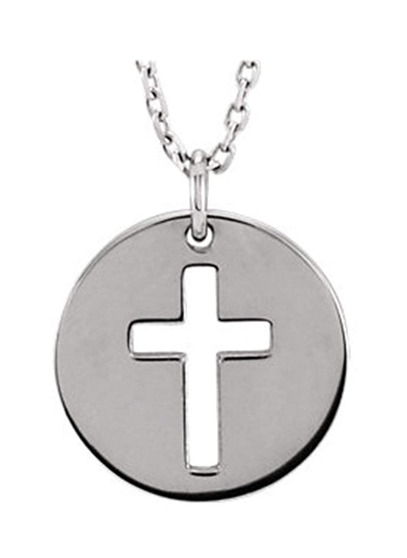 "Pierced Cross Disc Rhodium-Plated 14k White Gold Pendant Necklace, 16-18"" (12X12 MM)"