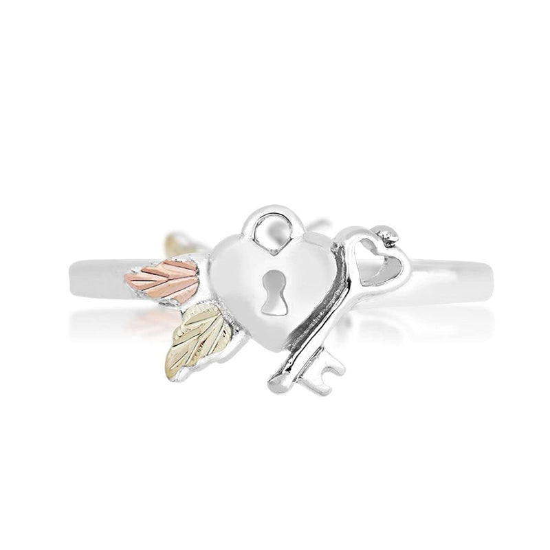 Slim-Profile Lock and Key Ring, Sterling Silver, 12k Green and Rose Gold Black Hills Gold Motif