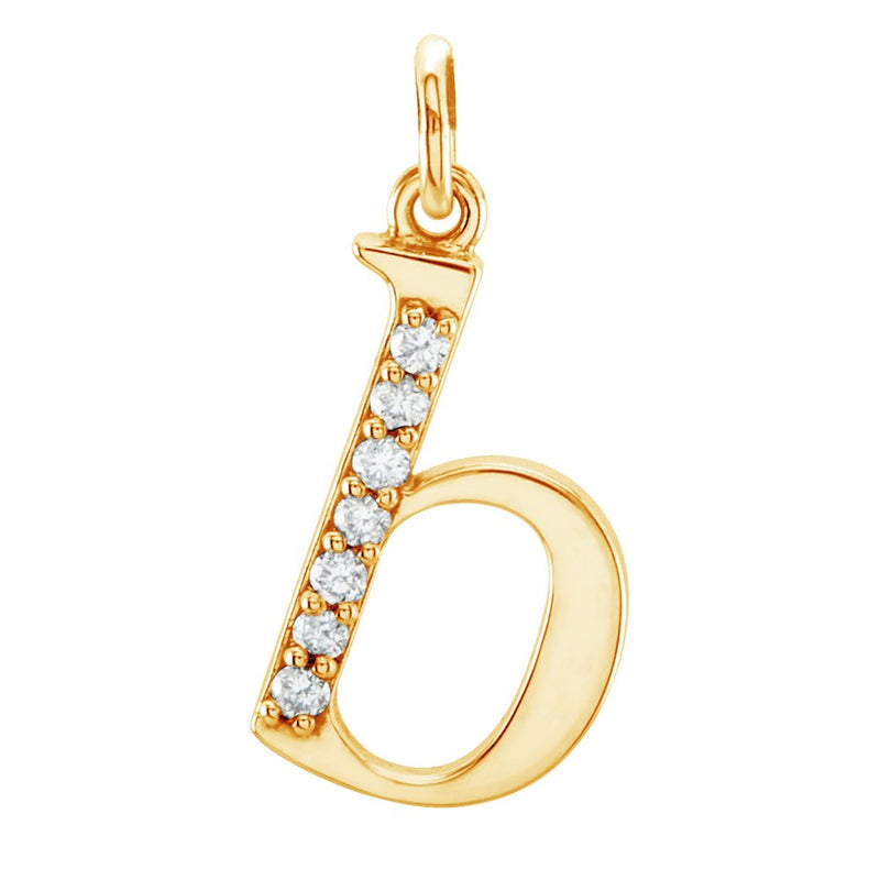 Petite Diamond Initial 'b' Lowercase Alphabet Letter 14k Yellow Gold Pendant (.04 Cttw IJ Color, I1 Clarity)