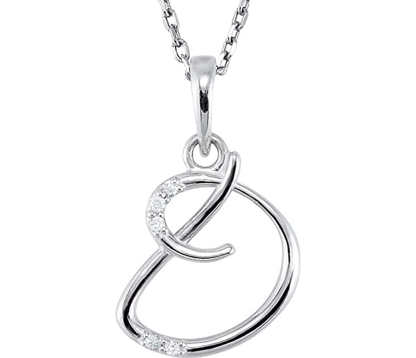 "5-Stone Diamond Letter 'D' Initial Sterling Silver Pendant Necklace, 18"" (.03 Cttw, GH, I2)"