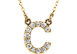 "14k Yellow Gold Diamond Initial 'C' 1/6 Cttw Necklace, 16"" (GH Color, I1 Clarity)"
