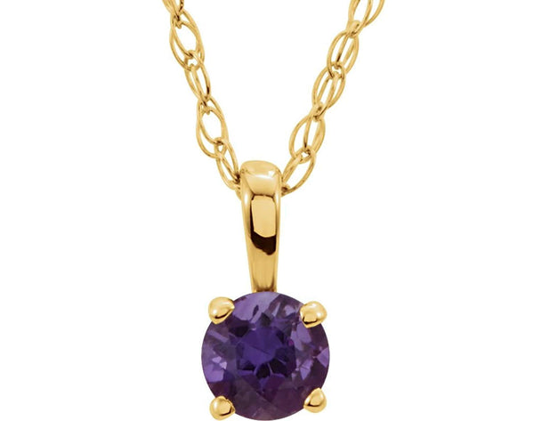 Children's Amethyst Solitaire 14k Yellow Gold Pendant Necklace, 14""