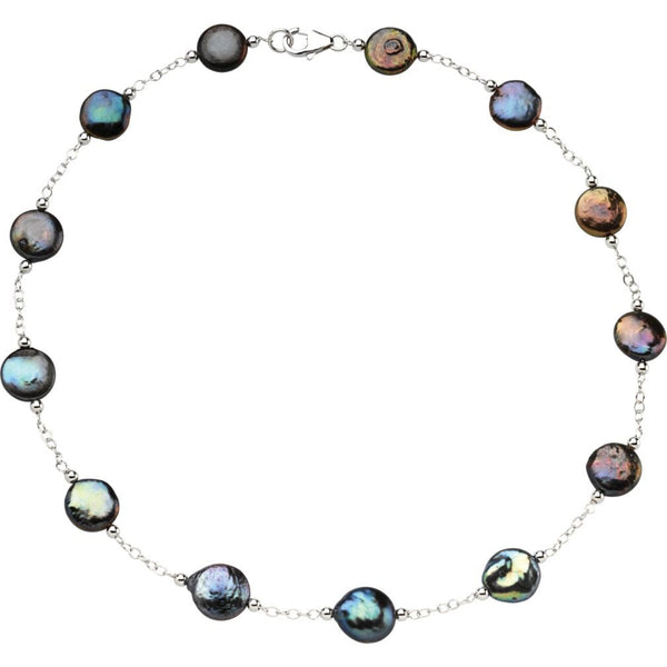 Black Freshwater Cultured Coin Pearl Station Sterling Silver Necklace, 18'' (12-13MM)