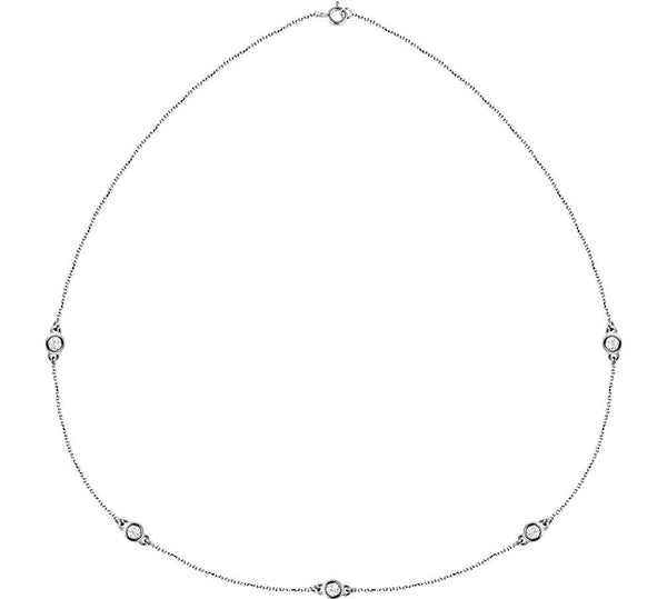 "Diamond Solitaire 14k White Gold Pendant Necklace, 18"" (1.00 Cttw)"