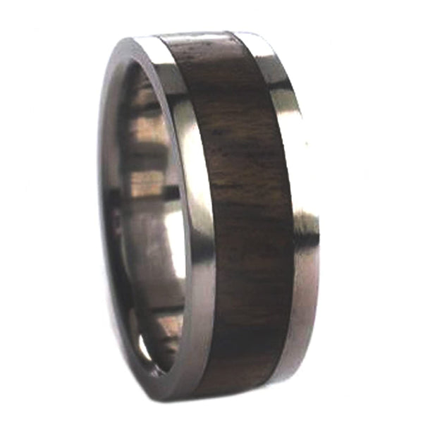 Ziricote Wood Inlay 8mm Comfort Fit Interchangeable Titanium Ring, Size 13