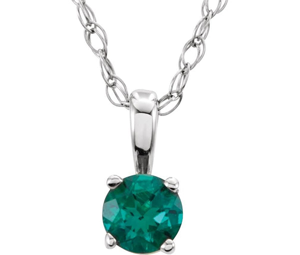 Children's Chatham Created Emerald 'May' Birthstone 14k White Gold Pendant Necklace, 14""