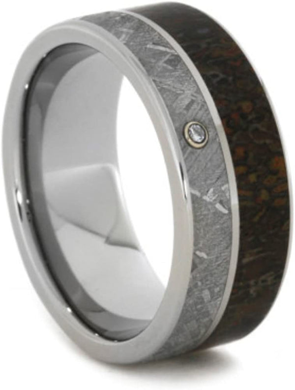 Bezel-Set Diamond, Dinosaur Bone, Gibeon Meteorite 8mm Comfort-Fit Titanium Band, Size 10.75