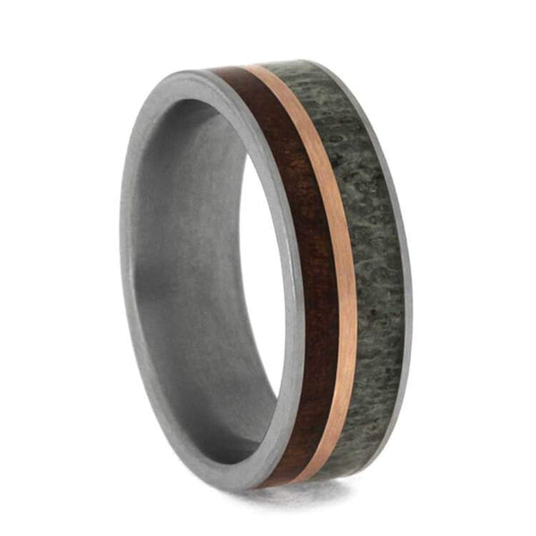The Men's Jewelry Store (Unisex Jewelry) Deer Antler, Koa Wood, 14k Rose Gold 7mm Matte Comfort-Fit Titanium Band