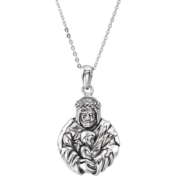 Mom's Prayer for Daughters 'God's Embrace of Love' Rhodium-Plate Sterling Necklace, 18""
