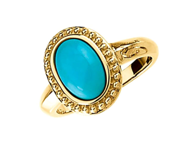 Turquoise Cabochon 1.86 Ct. Granulated Bead 14k Yellow Gold Ring