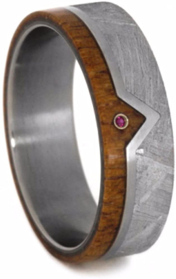 Ruby, Gibeon Meteorite, African Mahogany 7mm Comfort-Fit Matte Titanium Wedding Band, Size 8.25