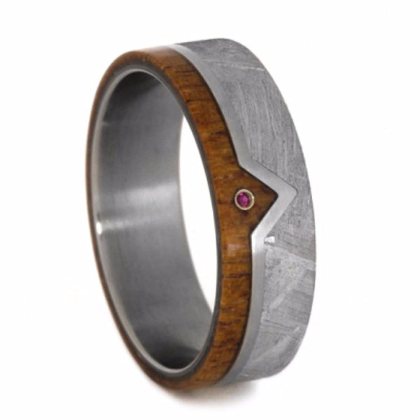 Ruby, Gibeon Meteorite, African Mahogany 7mm Comfort-Fit Matte Titanium Wedding Band