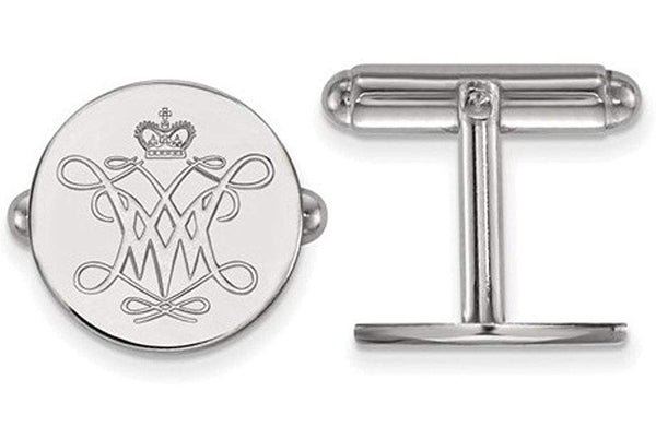 Rhodium-Plated Sterling Silver William Mary, Round Cuff Links, 15MM