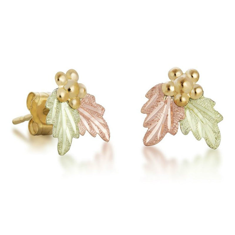 Leaves with Grapes Stud-Earrings, 10k Yellow Gold, 12k Green and Rose Gold Black Hills Gold Motif