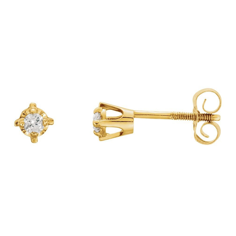 Girl's Diamond Solitaire Stud Earrings, 14k Yellow Gold (.06 Cttw, GI Color, I3 Clarity)
