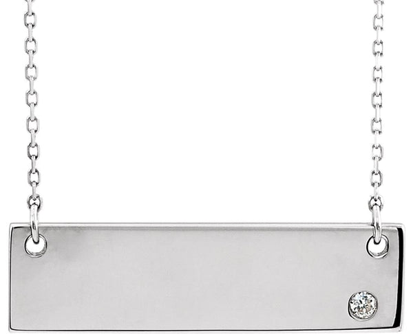 "Diamond Bar Necklace, Rhodium-Plated 14k White Gold 18"" (.03 Ct, Color G-H, I1 Clarity)"