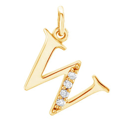 Diamond Initial 'w' Lowercase Alphabet Letter 14k Yellow Gold Pendant (.025 Ctw IJ, SI2-SI3)