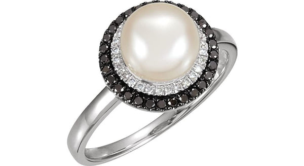 14k White Gold Freshwater Cultured Pearl, Black and White Diamond Halo Ring, Size 6 to 7