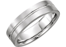 Satin Finish Grooved 4.5mm Comfort Fit 14k White Gold, Size 6