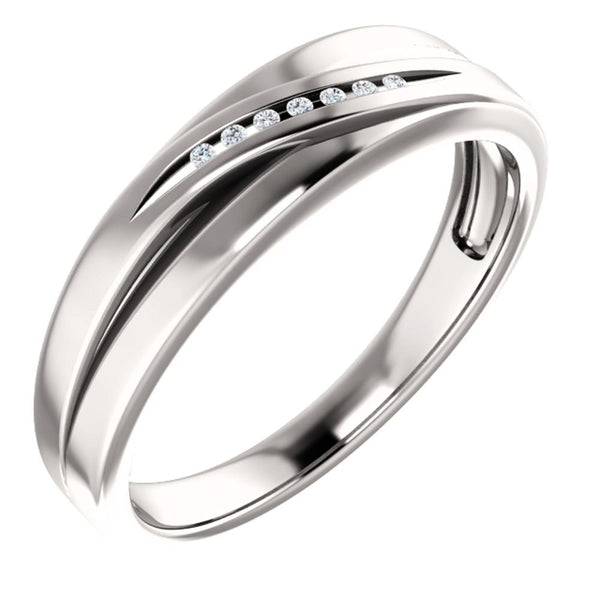Men's 7-Stone Diamond Wedding Band, 14k White Gold (.08 Ctw, Color G-H, SI2-SI3 Clarity) Size 11