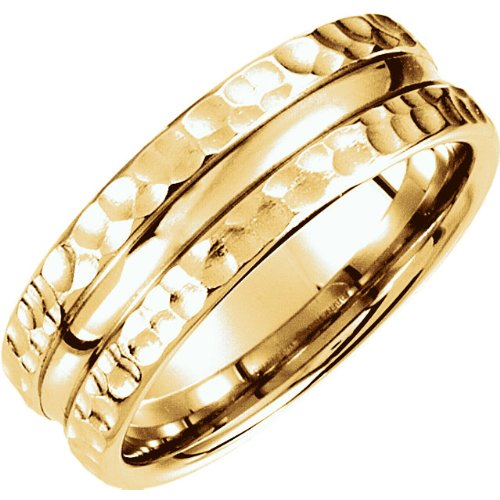 7.5mm 14k Yellow Gold Fancy Carved Band Sizes 4 to 14