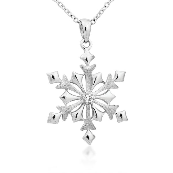 Diamond Snowflake Pendant Necklace, Rhodium Plated Sterling Silver, 18""