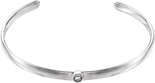 "Diamond Cuff Bracelet, Rhodium-Plated 14k White Gold, 8"" (0.1 Ctw, G-H Color, I1 Clarity)"
