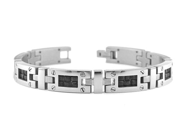 Men's Texture Collection Gray Titanium 10mm Black Leather Fold Over Link Bracelet, 8""