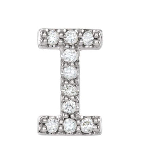Sterling Silver Diamond Letter 'I' Initial Stud Earring (Single Earring) (.04 Ctw, GH Color, I1 Clarity)