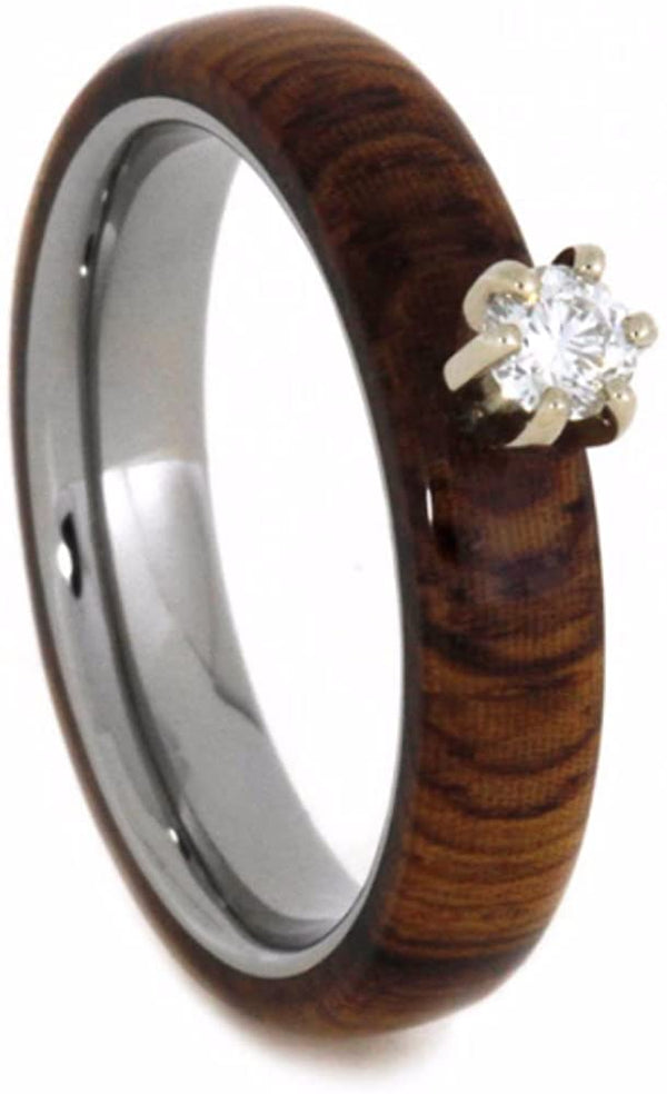 Diamond Solitaire Honduran Rosewood 4mm Comfort-Fit Titanium Wedding Band, Size 9.5