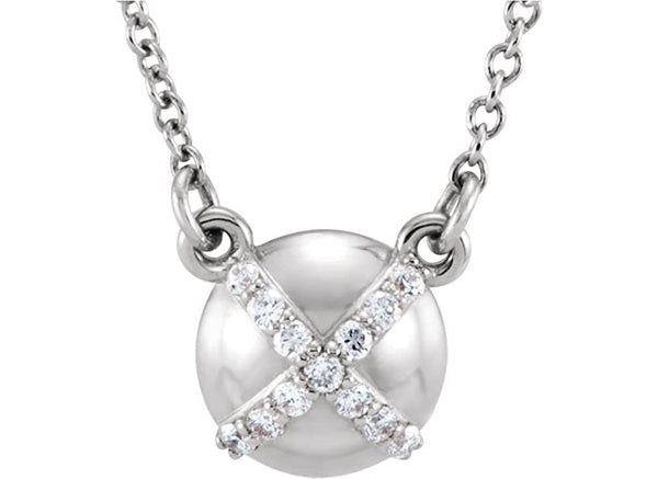 "13-Stone Diamond Platinum Pendant Necklace, 18"" (.07 Cttw)"