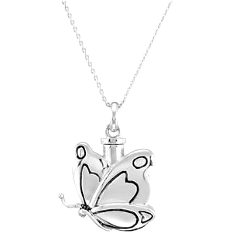 Rhodium Plated Sterling Silver Butterfly Ash Holder Pendant Necklace 18""
