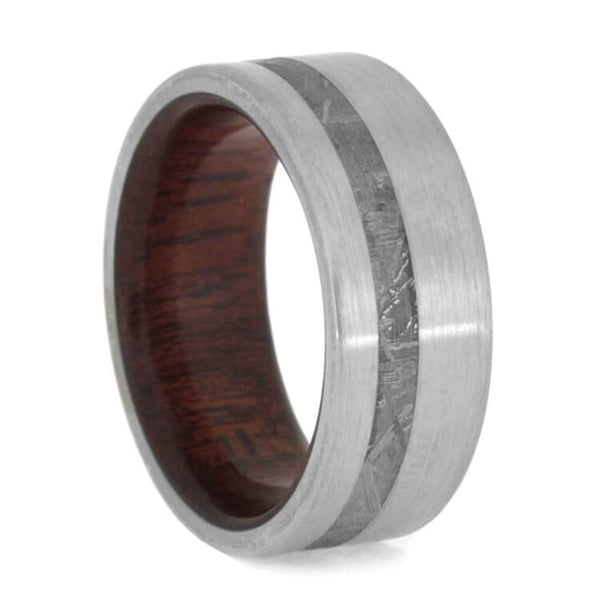 The Men's Jewelry Store (Unisex Jewelry) Gibeon Meteorite, Brushed Titanium 8mm Bloodwood Comfort-Fit Band