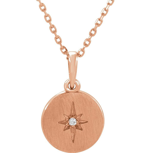 "Diamond Starburst Necklace in 14k Rose Gold, 16-18"" (.08 Ctw, Color G-H, Clarity I1)"