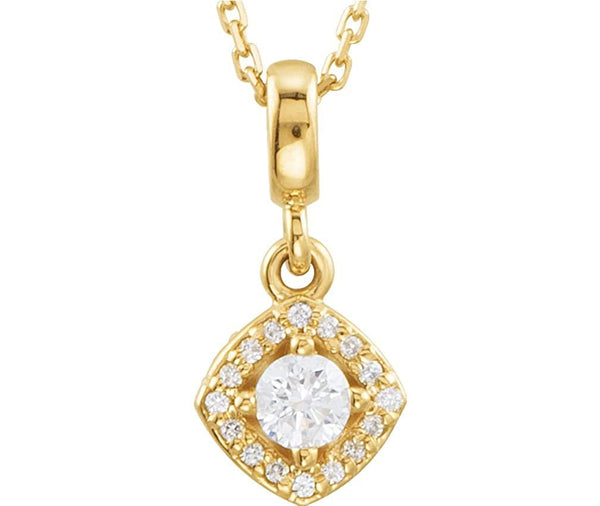 "Diamond Halo Round Pendant Necklace in 14k Yellow Gold, 18"" (1/5 Cttw)"