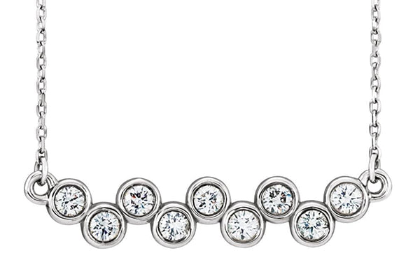 "Platinum Bezel-Set Diamond Bar Necklace, 16-18"" (0.5 Ctw, G-H Color,I1 Clarity)"