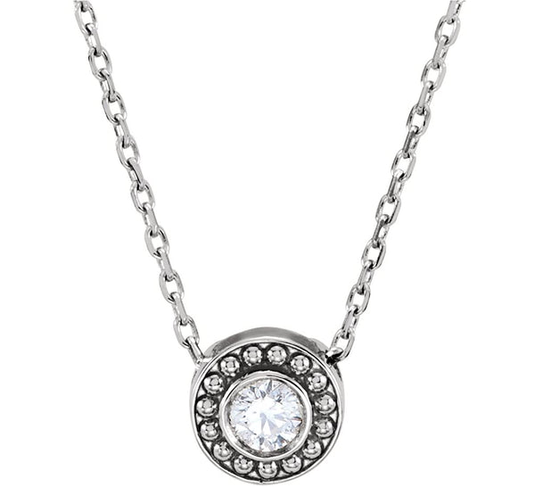 "Platinum Diamond Solitaire Granulated Bead Design Slide Pendant Necklace, 16"" (.10 Cttw)"