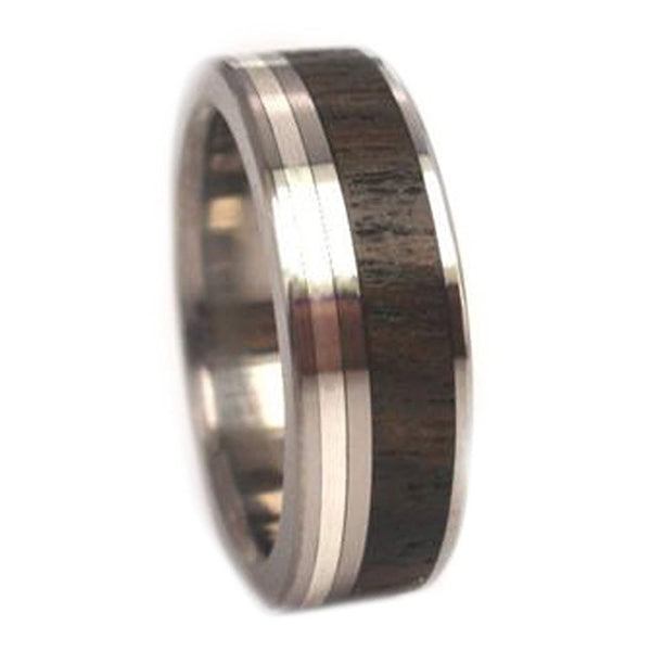 Ziricote Wood, 14K White Gold 7mm Comfort Fit Titanium Wedding Band, Size 10