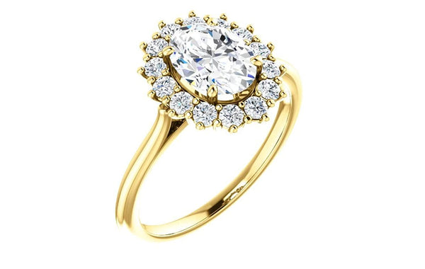 Oval Cubic Zirconia and Diamond Halo 14k Yellow Gold Ring (.35 Cttw, GH Color, SI1 Clarity)