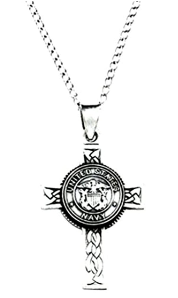 US Navy Halo Cross Sterling Silver Pendant Necklace, 24