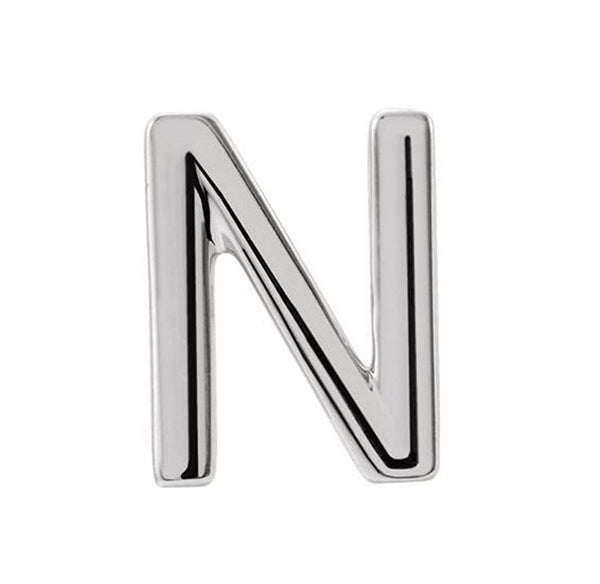 Platinum Initial Letter 'N' Stud Earring (Single Earring)