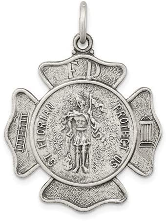 Sterling Silver Saint Florian Badge Medal Pendant (35X27 MM)