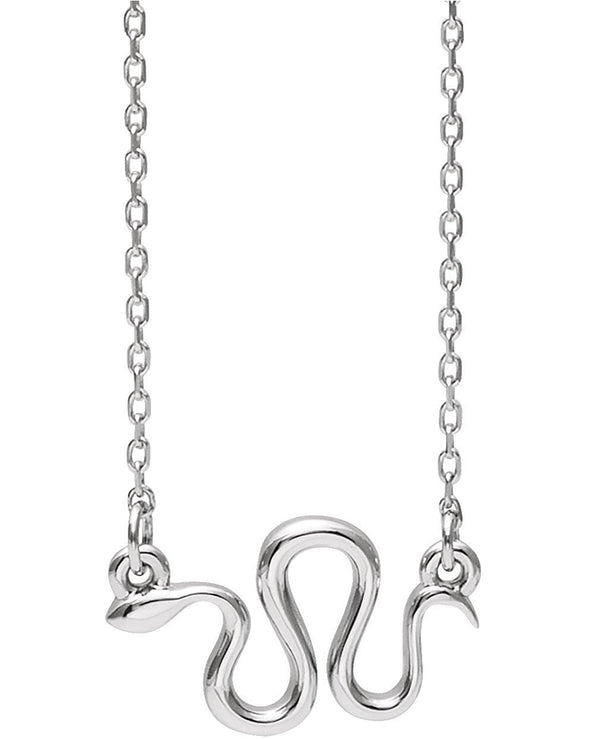 Snake Necklace, Rhodium-Plated 14k White Gold, 18""