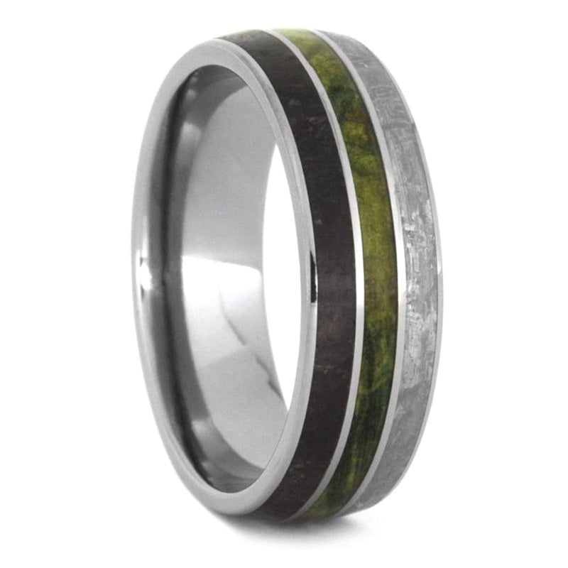 Dinosaur Bone, Gibeon Meteorite, Green Box Elder Burl 8mm Titanium Comfort-Fit Band